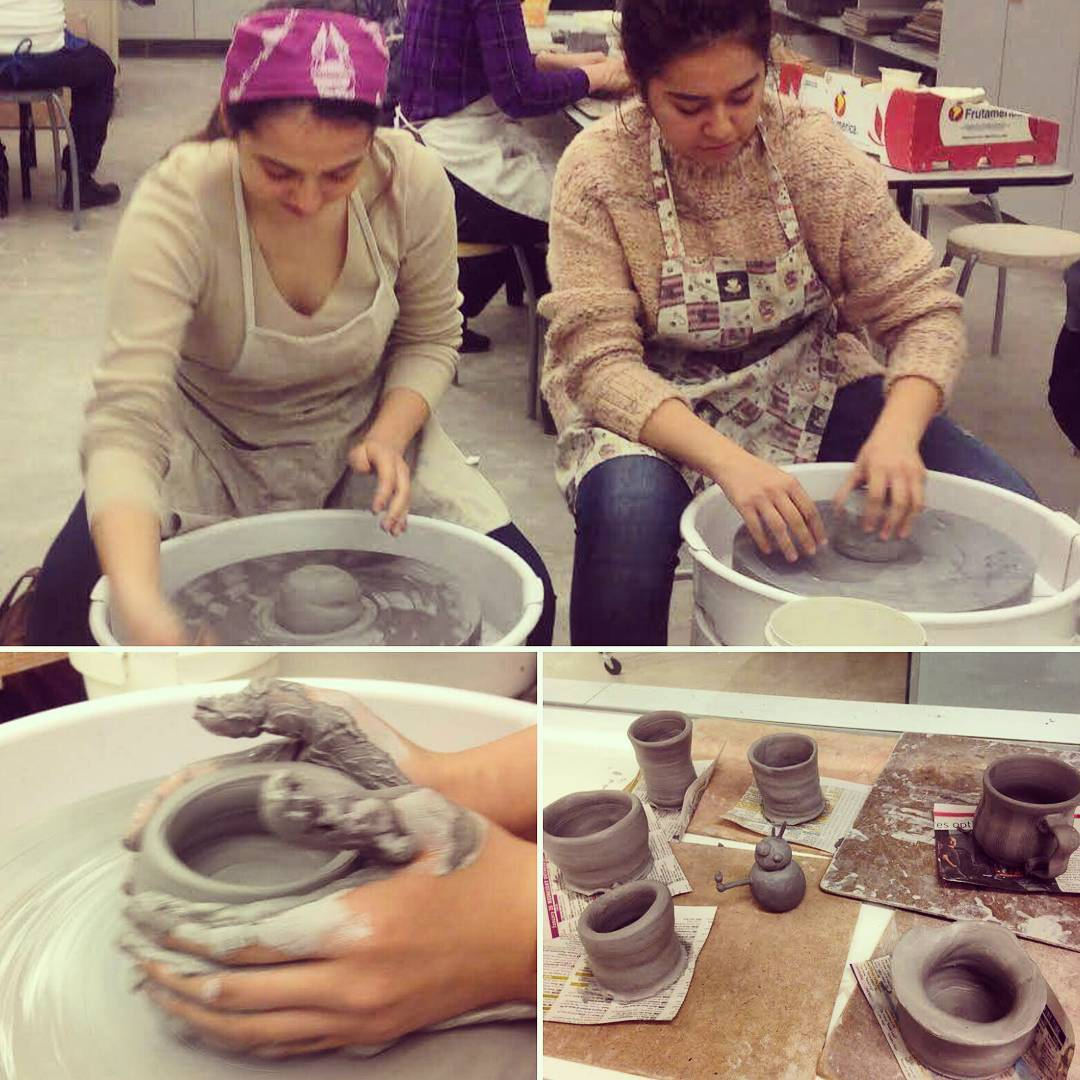 Mentora Language Academy students making clay pots